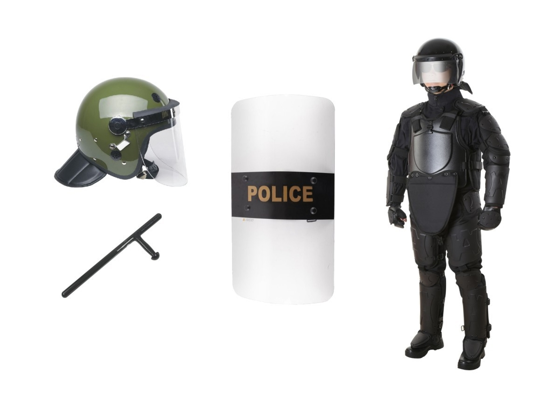 Tactical Riot Control Gear , Anti Riot Equipment Body Armor With Helmet